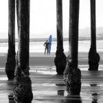 Pismo Beach Pier and Surfer B&W with Blue Board